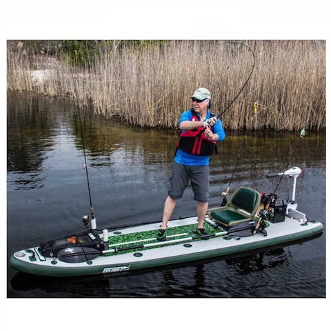 Sea Eagle FishSUP 126 Inflatable SUP in use fishing out on a pond. Great shot of the Sea Eagle Angler SUP in action.