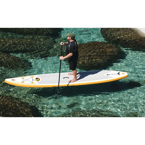 Top view of the Advanced Elements FishBone EX Inflatable SUP out on the water.