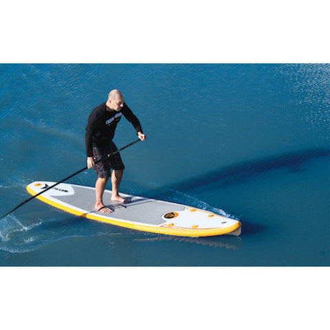Paddling the Advanced Elements FishBone EX Inflatable SUP out on the open water, top view.