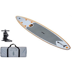 Display view of Advanced Elements FishBone EX Inflatable SUP with Pump.  Grey carry bag and black air pump also pictured.