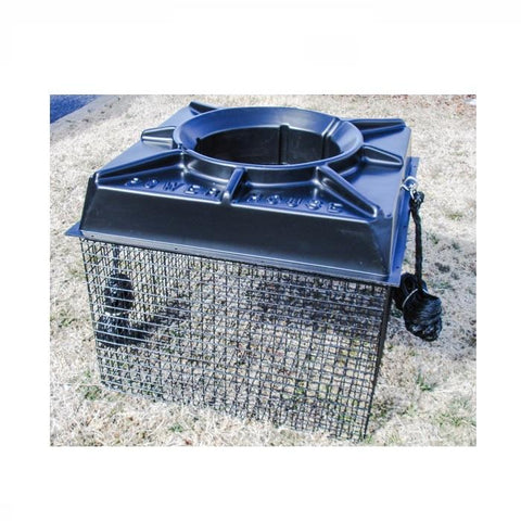 Float Cage for Power House Aerator.  Shown here fully setup with black aerator cover on top, sitting on yellow, dormant grass.