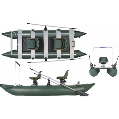 Sea Eagle 375 FoldCat Inflatable Pontoon Fishing Boat top view, side view, and front view.