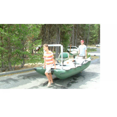 2 people carrying the Sea Eagle 375 FoldCat Inflatable Pontoon Fishing Boat from the front and back.