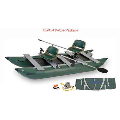Sea Eagle 375 FoldCat Inflatable Pontoon Fishing Boat top and side display view with the bag and pump sitting next to the green Sea Eagle inflatable fishing boat.