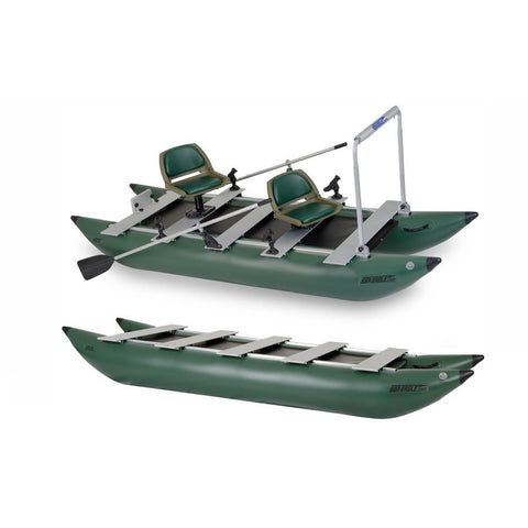 Sea Eagle 375 FoldCat Inflatable Pontoon Fishing Boat top view of the fully setup green inflatable pontoon boat with 2 seats and the casting bar.  Top side view also of just the inflatable pontoon frame.  The hunter green pontoons on the Fold Cat 375 are shown with the aluminum planks across to stabilize the 2 Person Sea Eagle Pontoon Inflatable Fishing Boat.