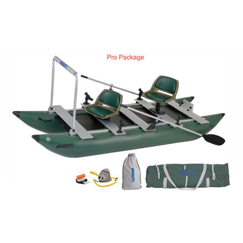 Sea Eagle 375 FoldCat Inflatable Pontoon Fishing Boat Pro package top and side display view with the bag and pump sitting next to the Sea Eagle inflatable fishing boat.  The Inflatable Pontoon Fishing Boat is show here as the FoldCat 375 Pro Package.