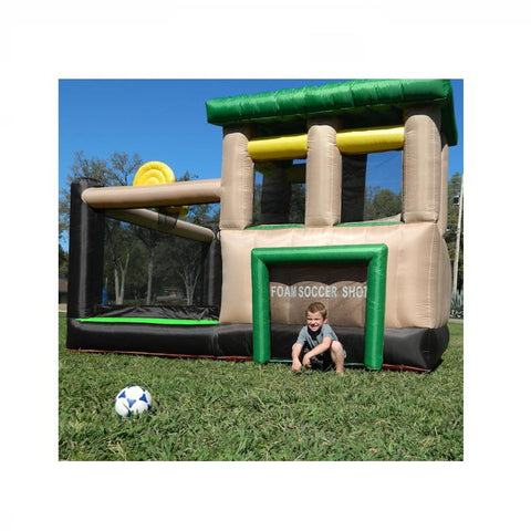 Island Hopper Fort All Sport Bounce House Soccer Goal Outside View on the Lawn, Kid playing goalie.