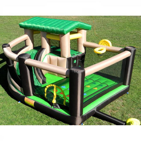 Island Hopper Fort All Sport Bounce House.  Top display view green, black and tan color scheme with yellow highlights.