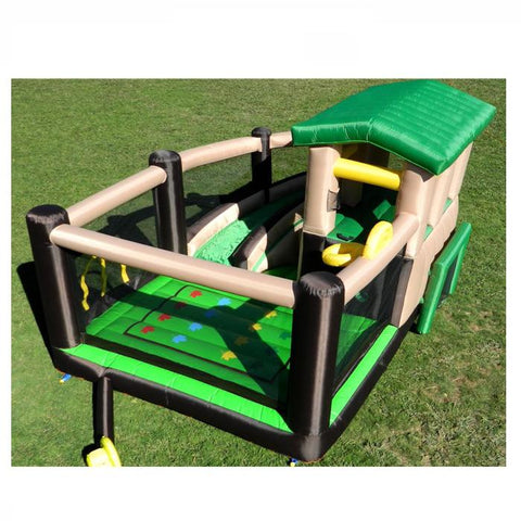 Island Hopper Fort All Sport Bounce House Top Overview on the lawn.  Green, Tan, Black, and Yellow color scheme.  Basketball goal, bounce floor, soccer goal, lookout tower, inflatable.