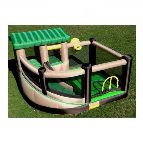 Island Hopper Fort All Sport Bounce House back overview.  Green, black, yellow, and tan color scheme outside on the lawn