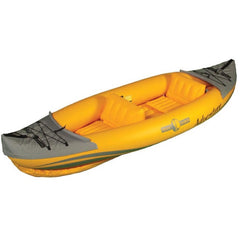 Display view of Orange Advanced Elements 2 Person Friday Harbor Adventure Inflatable Kayak with grey highlights on the nose and tail.