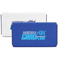 AIRHEAD Gang Plank Inflatable Water Mat 6x10.  One side of the floating water is a dark blue/purple with the Airhead Gang Plank Inflatable Water Mats logo, the other side is all white with a dark Airhead Floating Water Mats logo. The blue side is placed in front of the white swim mat here.