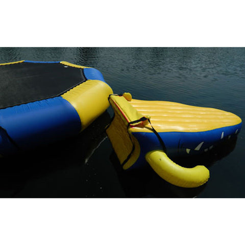 Closeup showing the ease of attaching the Island Hopper Gator Monster Head Slide Water Trampoline Attachment to any water trampoline.
