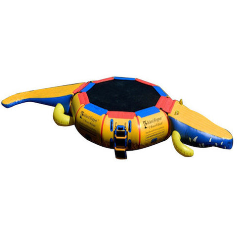 Top view of the yellow Island Hopper 13ft Gator Monster Water Bouncer Water Park with blue and red trim and black water bouncer surface.