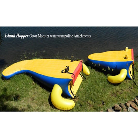 The yellow with blue trim head and tail attachments of the Island Hopper 13ft Gator Monster Water Bouncer Water Park