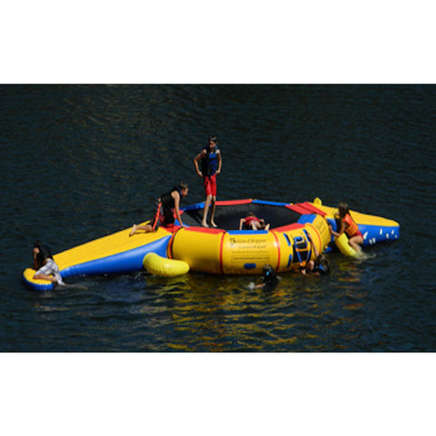 Island Hopper Gator Monster Tail Platform Water Trampoline Attachment.  Kids playing on the inflatable water park out on the lake.