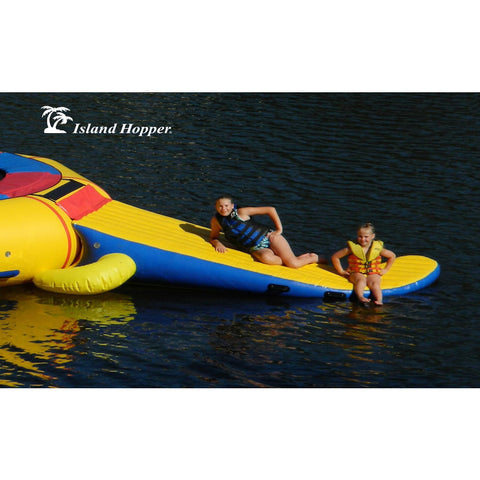 2 kids sitting on the tail slide of the yellow Island Hopper 13ft Gator Monster Water Bouncer Water Park