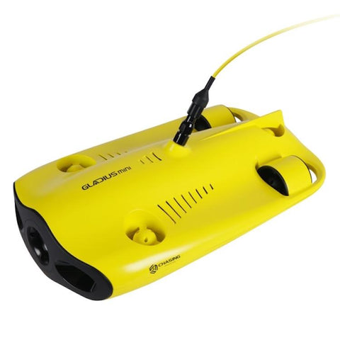Chasing Gladius Mini Underwater Drone top view from the front corner.  You can clearly see the propellers, tether, and the top features of the drone.  The underwater drone for sale is bright yellow and the image is on a white background.