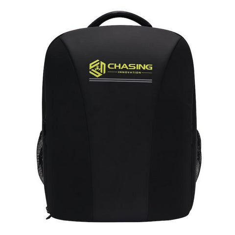 Black backpack for the Chasing Gladius Mini Underwater Drone for Sale.  The backpack is all black with yellow letters. Image is on a black background