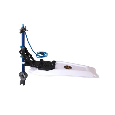Bixpy Hobie Pro Angler Kayak Motor Adapter with White Hobie Plate. Pole and wire are royal blue, connection points, brackets, and other pieces are black.  AT-PPP-1004