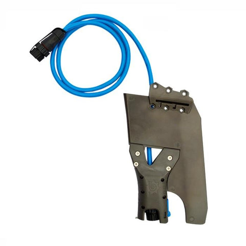 Bixpy Hobie Twist & Stow Kayak Rudder Adapter is black with a blue cable line with black plug.