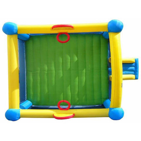 Island Hopper Hoops N Hops Bounce House Top view of the blue and yellow with green bounce surface and red basketball goals.