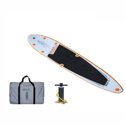 Orange and white Advanced Elements Hula 11 Inflatable SUP with black standing pad, top view.  Grey carry bag and black pump also pictured.