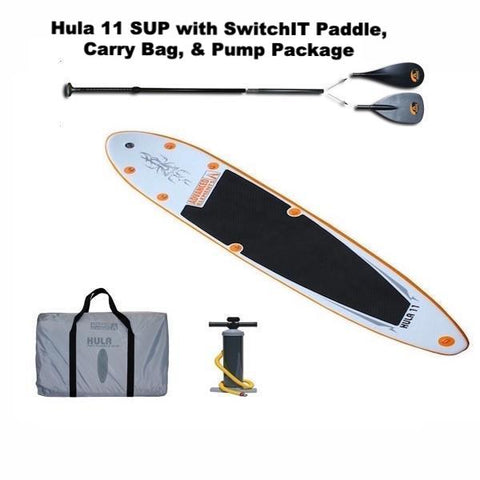 Hula 11 with SwitchIT SUP Paddle, carry bag, and pump
