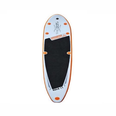 Advanced Elements Hula 11 Inflatable SUP overhead view of the white/orange SUP design with black standing pad.