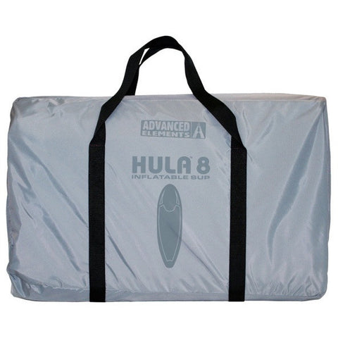 Light grey carry bag with dark grey Hula 8 letters for the Advanced Elements Hula 8 Inflatable SUP with Pump