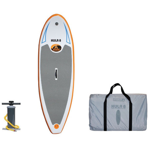 Advanced Elements Hula 8 Inflatable SUP with Pump Orange/White design with grey standing pad.  Black air pump and grey carry bag also pictured.  All images on 1 white background.
