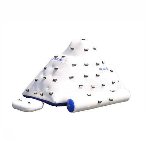 Front view of the white Rave Floating Inflatable Iceberg 7 with blue trim and climbing handles.  Image is on white background.