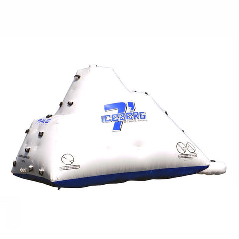 Side view of the slide side of the white Rave Floating Inflatable Iceberg 7 with blue lettering and climbing handles.  Image is on a white background.