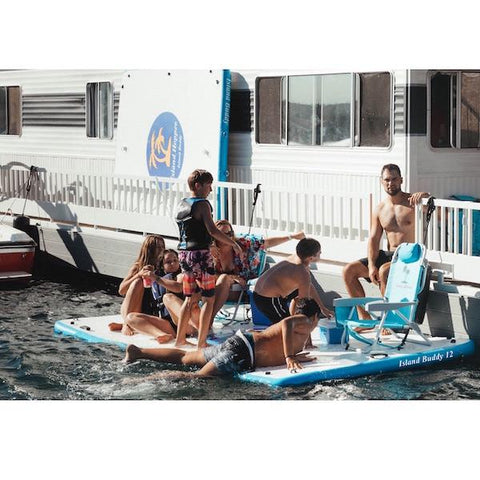 Island Hopper 12 foot Island Buddy Inflatable Water Mat for Sale on the side of a houseboat