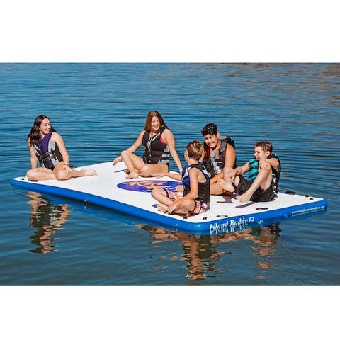 Island Hopper 12ft Island Buddy Inflatable Water Mat for Sale on the lake with 5 kids on it.
