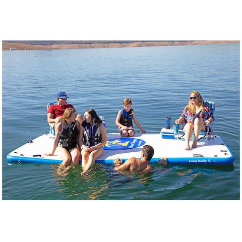 Island Hopper  Island Buddy 12ft Inflatable Water Mat for sale on the lake with 6 people, 2 chairs, 2 coolers.