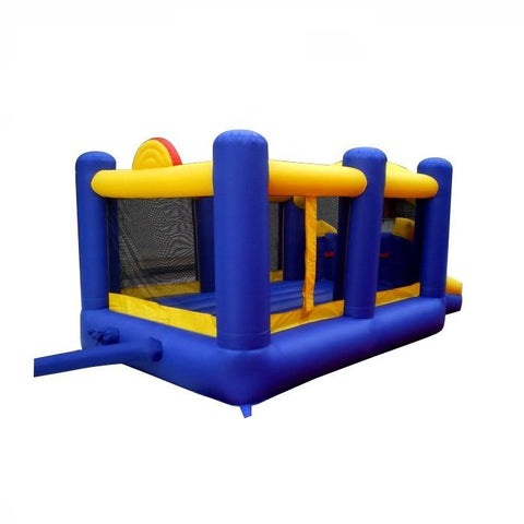 Island Hopper Racing Slide and Slam Bounce House outside back view showing blue and yellow design