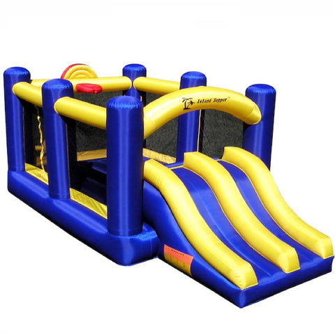Island Hopper Racing Slide and Slam Bounce House front view showing the blue and yellow color scheme.  Bounce house with duel inflatable front slides