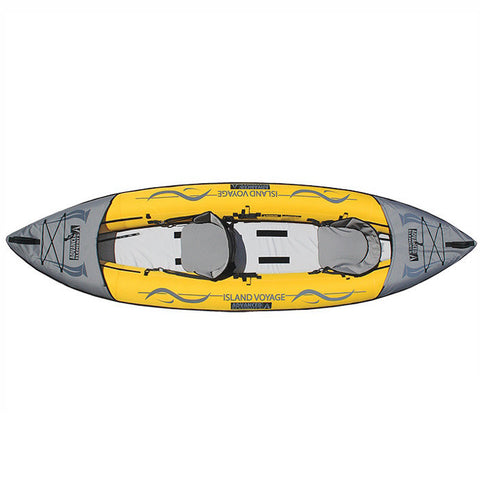 Yellow and Gray Advanced Elements Island Voyage 2 Inflatable Kayak displayed against a white background. View from overhead.