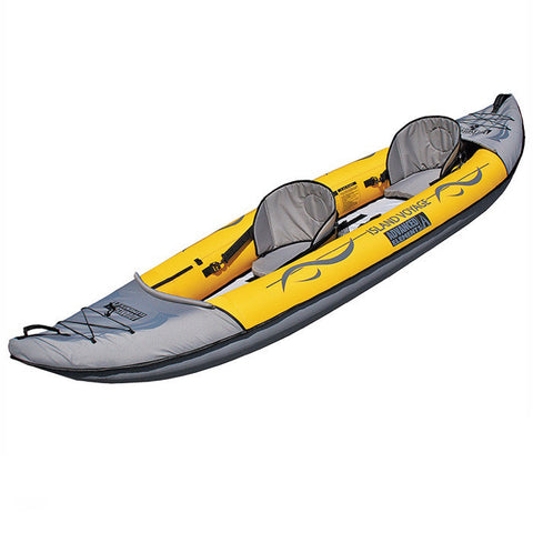 Display view of the Advanced Elements Island Voyage 2 Tandem Inflatable Kayak on a white background.  Yellow and grey design with 2 grey seats.