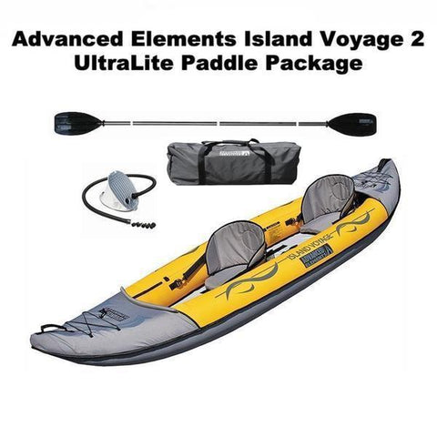 Advanced Elements Island Voyage 2 Person Tandem Inflatable Kayak UltraLite Paddle Package