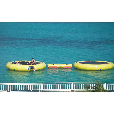 Island Hopper Island Runner Water Trampoline Attachment connecting 2 water trampolines together on the ocean.