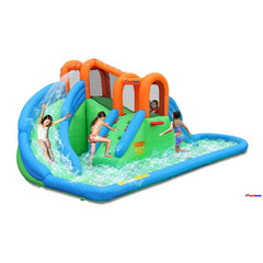 Bounceland Island Water Park with Basketball Hoop and Pool