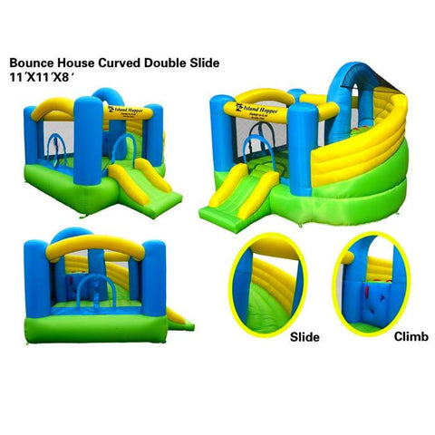 Different angles of the Island Hopper Jump A Lot Curved Double Slide Bounce House with closeups of the green curved slide with yellow walls and the blue climbing wall.  You can see an upclose of the slide, climbing wall, and overall jump house for sale.