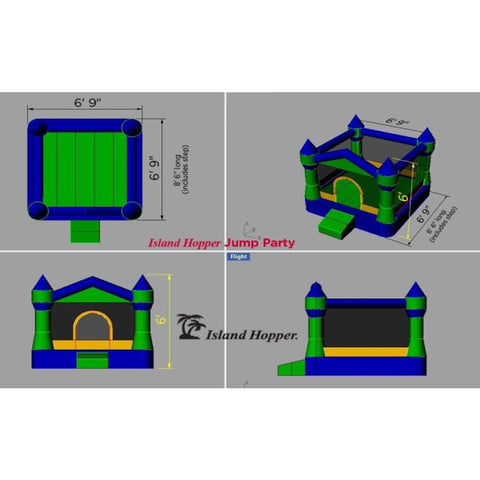 Island Hopper Jump Party Bounce House dimensions and diagram with front view, side view, overhead view, and top/front display view.