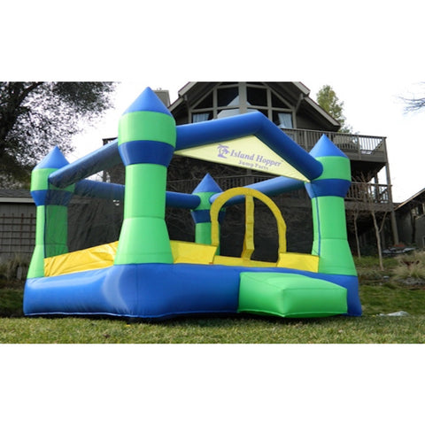 Island Hopper Jump Party Bounce House with small green entry step.  Green and blue color scheme with yellow highlights on the entry and border.