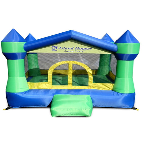 Island Hopper Jump Party Bounce House front view showing the Royal Blue and Green color scheme with yellow highlights.  Inflatable bounce house with small slide in front.