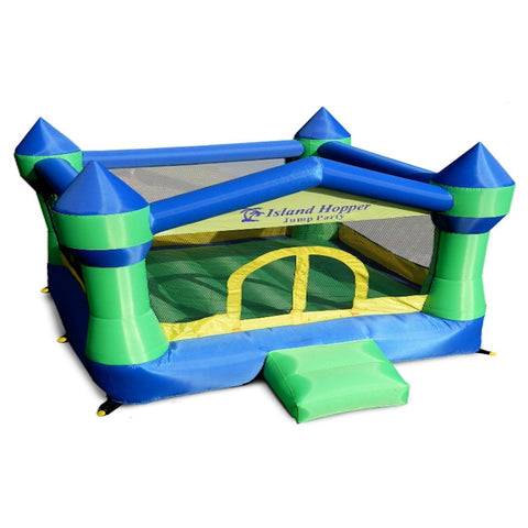 Island Hopper Jump Party Bounce House - top front view of the recreational Bounce House -  Island Hopper - Splashy McFun Watersports