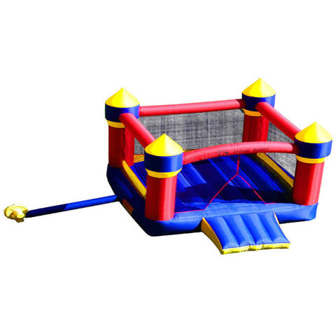 Top view of the Island Hopper Jump-A-Lot II Bounce House.  Inflatable Red Towers with blue and yellow highlight against a blue bounce floor and front entry step.  Blue tube to the yellow air blower is visible on the side.