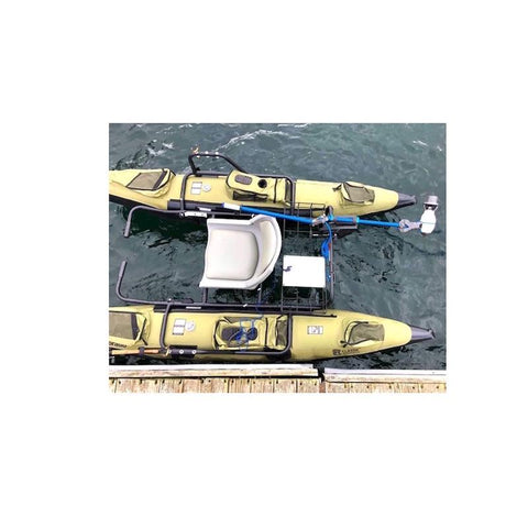 Bixpy Jet Kayak Motor Outboard Power Pack Kit is used on an inflatable pontoon boat with the Bixpy Universal Transom Adapter.  The yellow pontoons are joined together by a middle seat and frame.  The 333 Outboard Kayak Motor Power Pack sits behind the seat in a storage cage.
